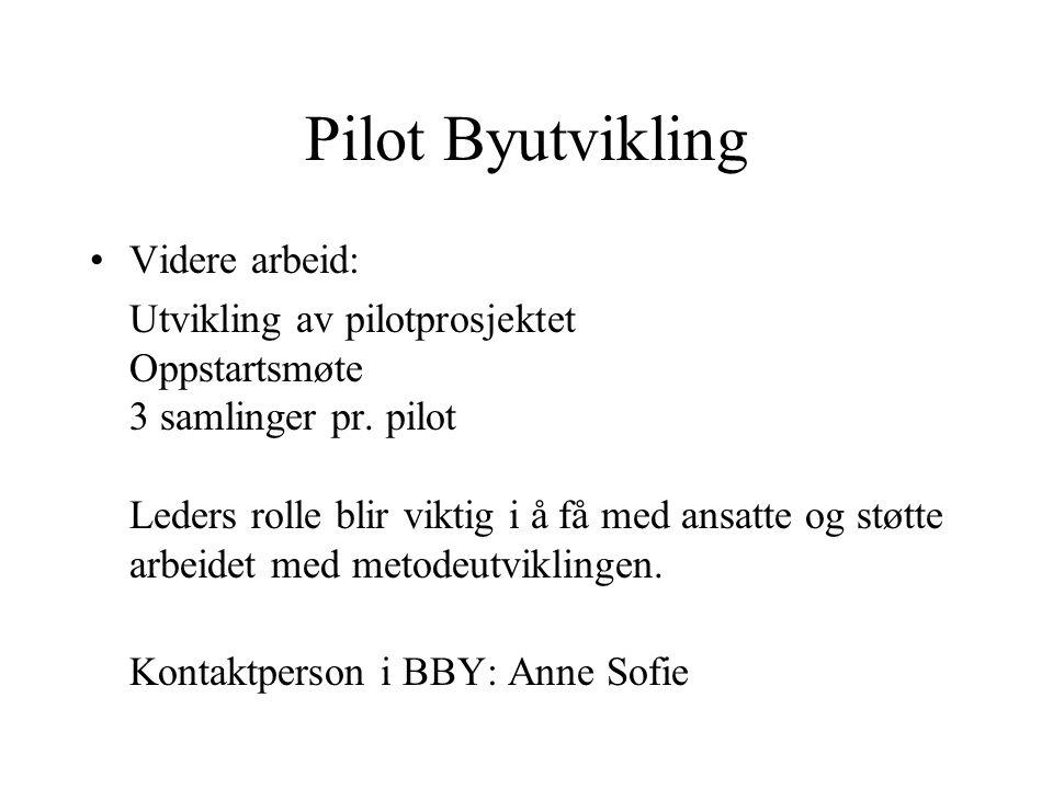 Pilot Byutvikling Videre arbeid: Utvikling av pilotprosjektet Oppstartsmøte 3 samlinger pr. pilot Leders rolle blir viktig i å få med ansatte og støtt