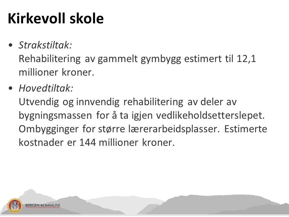 Kirkevoll skole Strakstiltak: Rehabilitering av gammelt gymbygg estimert til 12,1 millioner kroner. Hovedtiltak: Utvendig og innvendig rehabilitering
