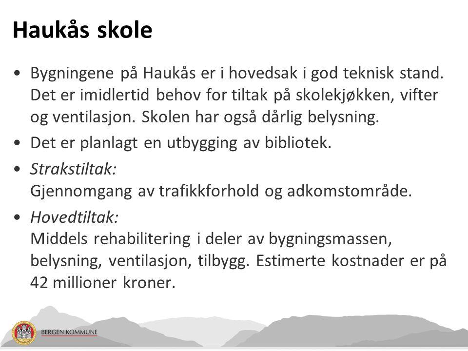Haukås skole Bygningene på Haukås er i hovedsak i god teknisk stand. Det er imidlertid behov for tiltak på skolekjøkken, vifter og ventilasjon. Skolen