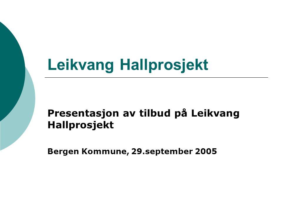 Leikvang Hallprosjekt Presentasjon av tilbud på Leikvang Hallprosjekt Bergen Kommune, 29.september 2005