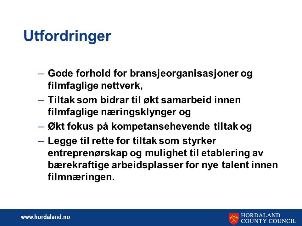 www.hordaland.no Kvalitet  Utvikle de særegne Vestnorske filmstemmene – de miljøene som med utgangspunkt i en regional forankring kan formidle alternativt filminnhold med høy kunstnerisk kvalitet og som et kontrapunkt til de mange østnorske prosjektene som preger det norske filmlandskapet.