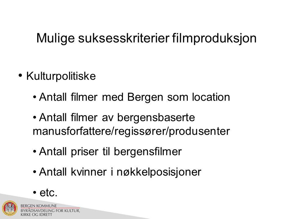 Mulige suksesskriterier filmproduksjon Kulturpolitiske Antall filmer med Bergen som location Antall filmer av bergensbaserte manusforfattere/regissører/produsenter Antall priser til bergensfilmer Antall kvinner i nøkkelposisjoner etc.