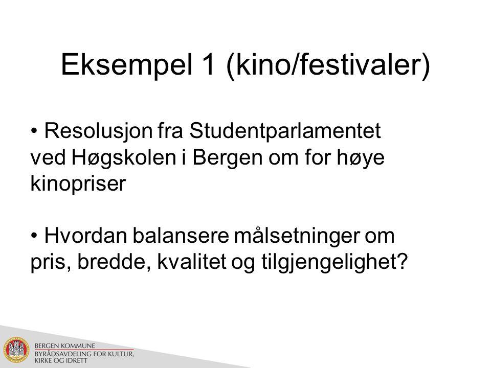 Eksempel 1 (kino/festivaler) Resolusjon fra Studentparlamentet ved Høgskolen i Bergen om for høye kinopriser Hvordan balansere målsetninger om pris, bredde, kvalitet og tilgjengelighet?