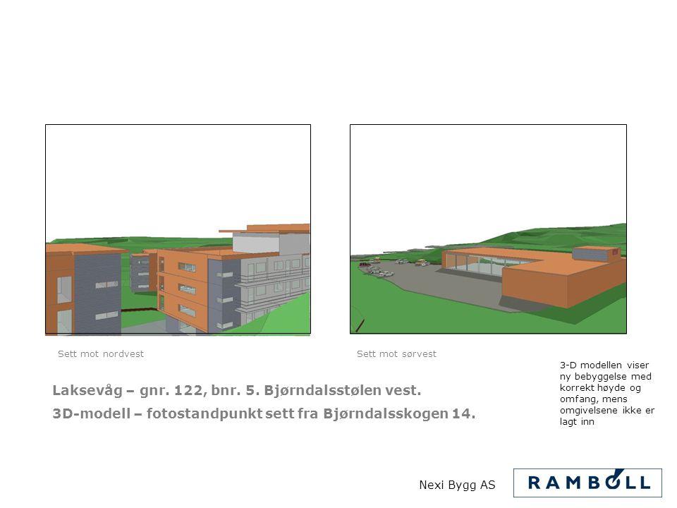 Laksevåg – gnr. 122, bnr. 5. Bjørndalsstølen vest. 3D-modell – fotostandpunkt sett fra Bjørndalsskogen 14. 3-D modellen viser ny bebyggelse med korrek