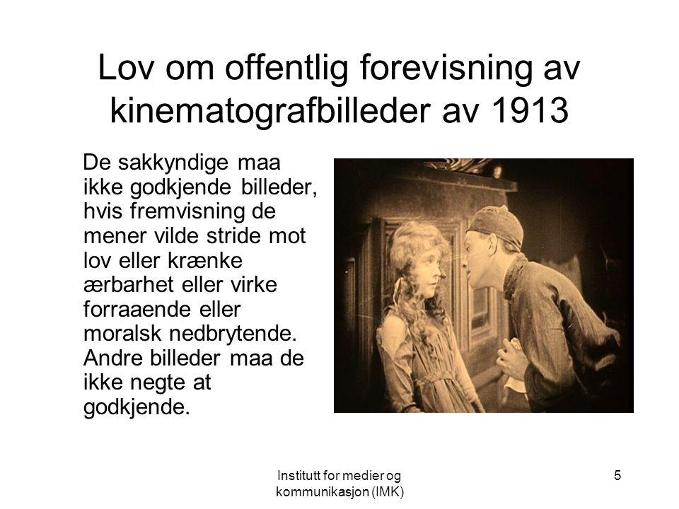 Institutt for medier og kommunikasjon (IMK) 4 Film og Kino Den norske modellen Ove Solum og Dag Asbjørnsen: Den særnorske kinomodellen Dag Asbjørnsen