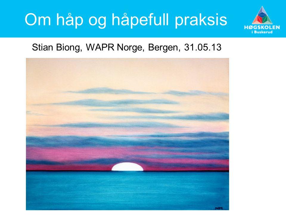 Om håp og håpefull praksis Stian Biong, WAPR Norge, Bergen, 31.05.13