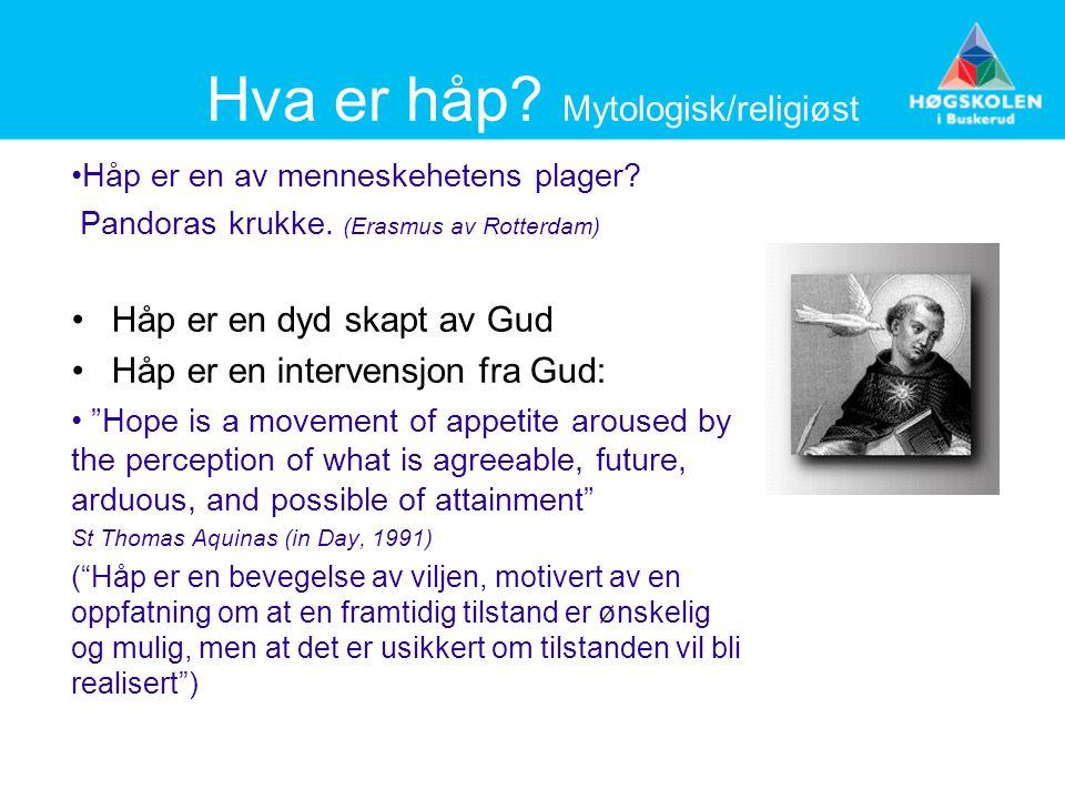 Hva er håp? Mytologisk/religiøst Håp er en av menneskehetens plager? Pandoras krukke. (Erasmus av Rotterdam) Håp er en dyd skapt av Gud Håp er en inte