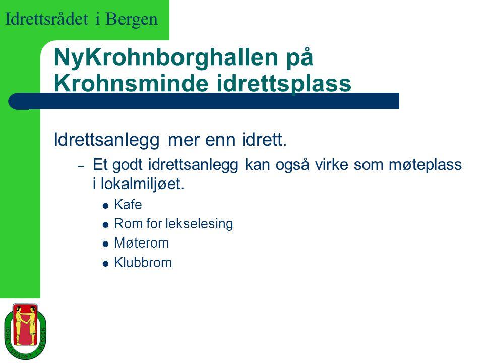 Idrettsrådet i Bergen NyKrohnborghallen på Krohnsminde idrettsplass Idrettsanlegg mer enn idrett. – Et godt idrettsanlegg kan også virke som møteplass