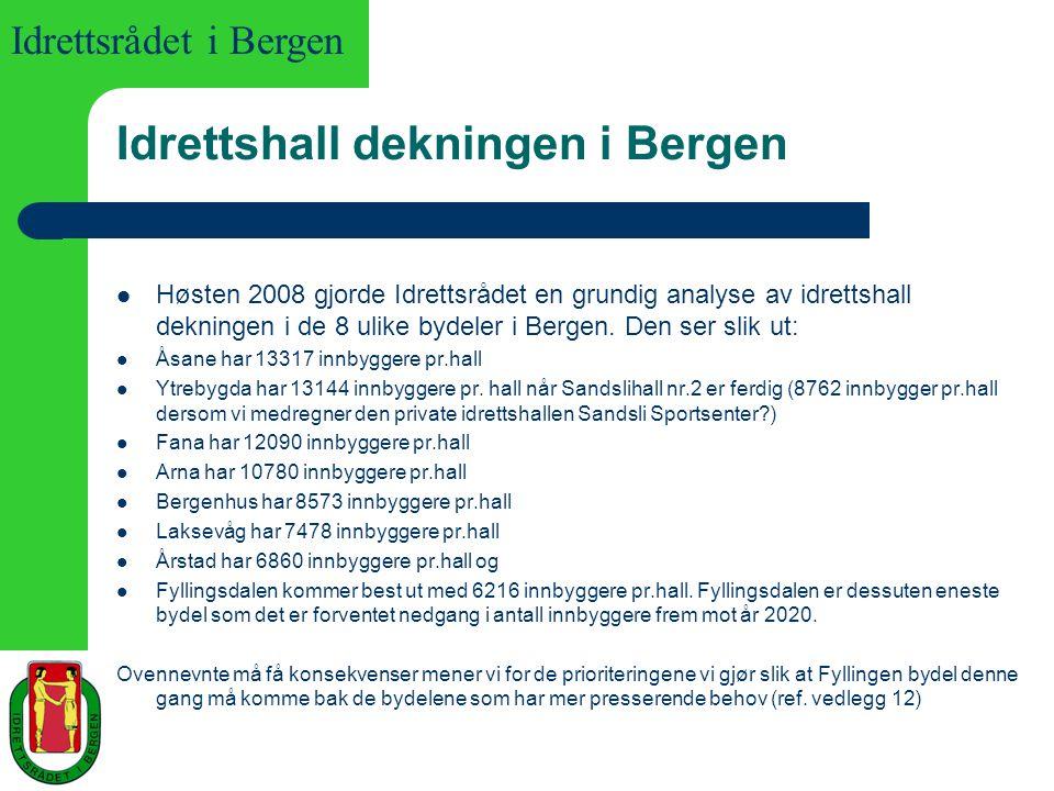 Idrettsrådet i Bergen Idrettshall dekningen i Bergen Høsten 2008 gjorde Idrettsrådet en grundig analyse av idrettshall dekningen i de 8 ulike bydeler