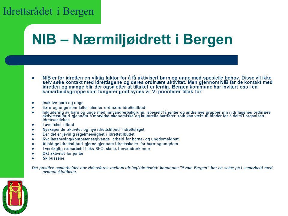 Idrettsrådet i Bergen NIB – Nærmiljøidrett i Bergen NIB er for idretten en viktig faktor for å få aktivisert barn og unge med spesielle behov. Disse v