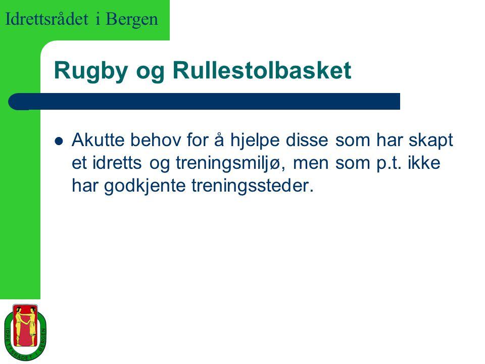 Idrettsrådet i Bergen Rugby og Rullestolbasket Akutte behov for å hjelpe disse som har skapt et idretts og treningsmiljø, men som p.t. ikke har godkje