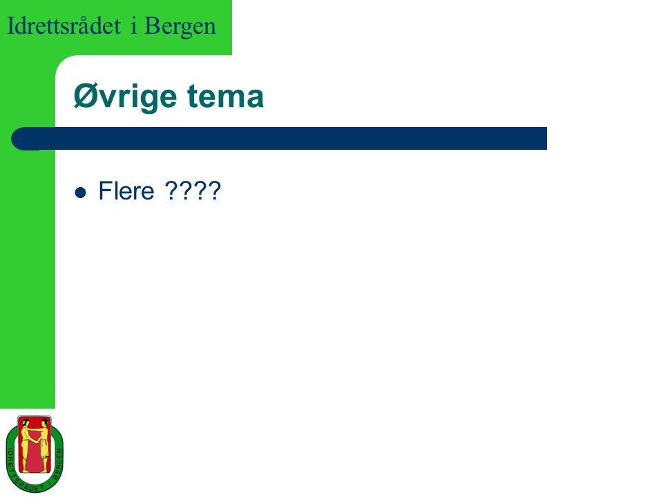 Idrettsrådet i Bergen Øvrige tema Flere ????