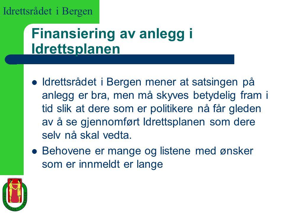 Idrettsrådet i Bergen Finansiering av anlegg i Idrettsplanen Idrettsrådet i Bergen mener at satsingen på anlegg er bra, men må skyves betydelig fram i