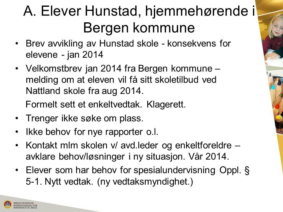 A. Elever Hunstad, hjemmehørende i Bergen kommune Brev avvikling av Hunstad skole - konsekvens for elevene - jan 2014 Velkomstbrev jan 2014 fra Bergen