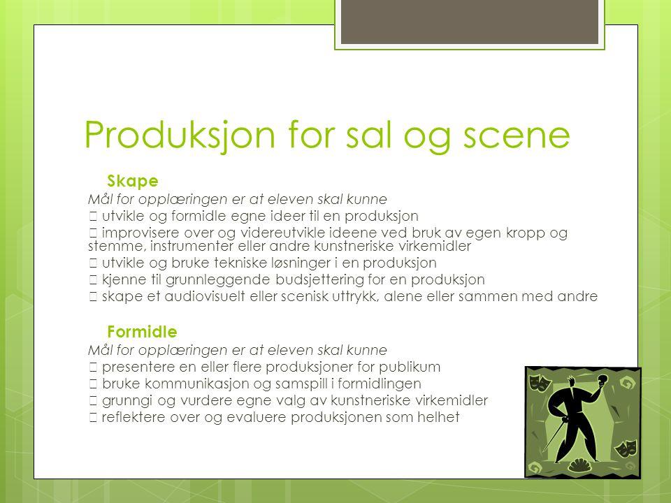 Produksjon for sal og scene Skape Mål for opplæringen er at eleven skal kunne  utvikle og formidle egne ideer til en produksjon  improvisere over og