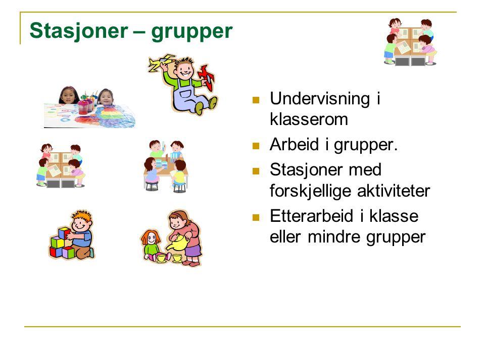 Stasjoner – grupper Undervisning i klasserom Arbeid i grupper. Stasjoner med forskjellige aktiviteter Etterarbeid i klasse eller mindre grupper