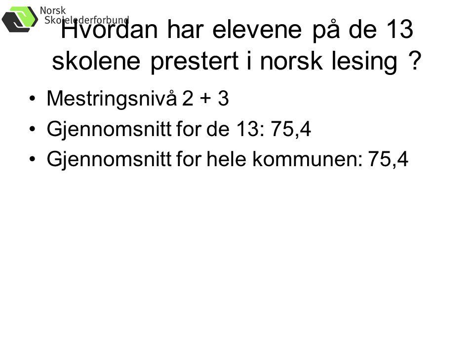Hvordan har elevene på de 13 skolene prestert i norsk lesing .