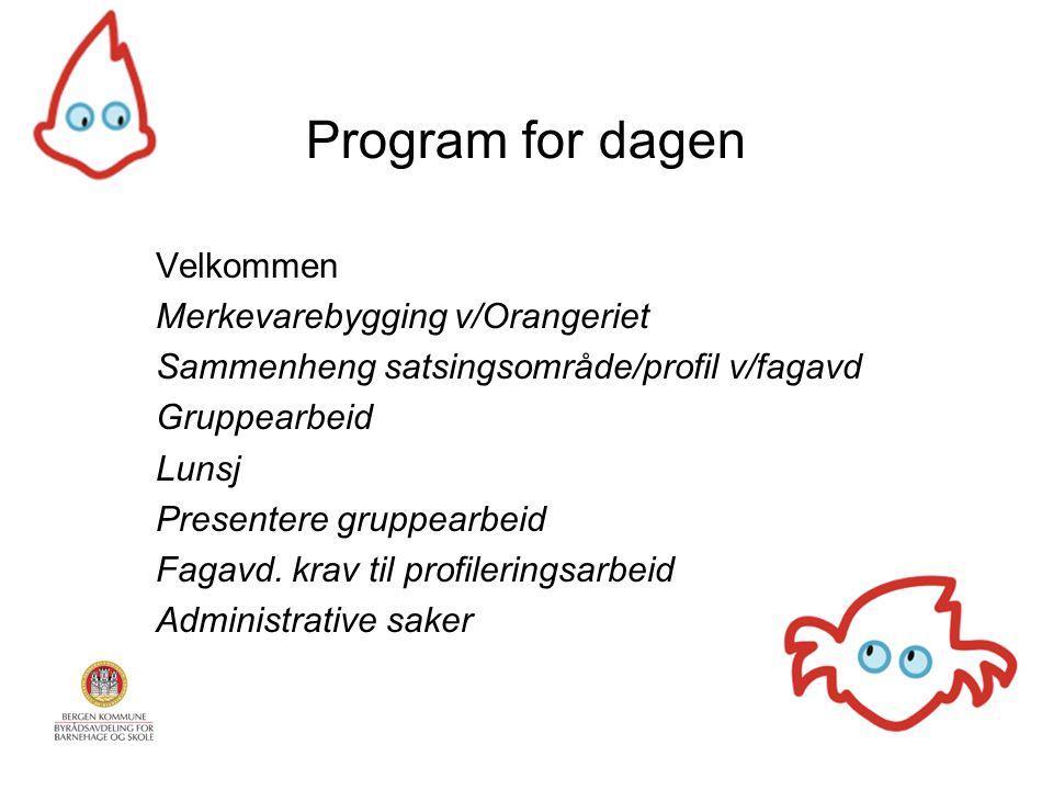Program for dagen Velkommen Merkevarebygging v/Orangeriet Sammenheng satsingsområde/profil v/fagavd Gruppearbeid Lunsj Presentere gruppearbeid Fagavd.