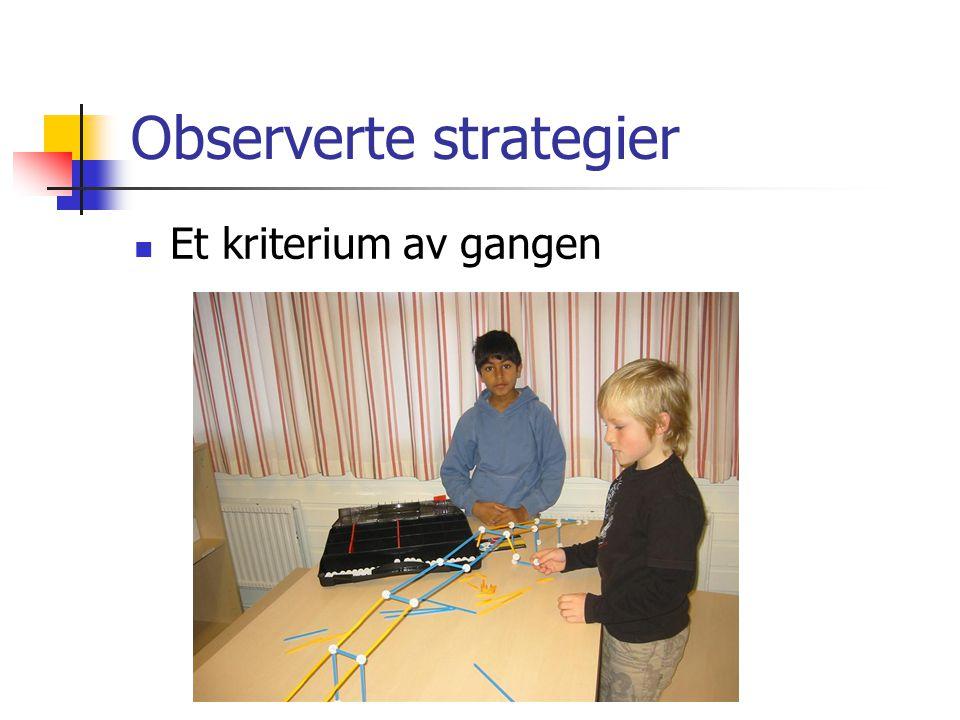 Observerte strategier Et kriterium av gangen