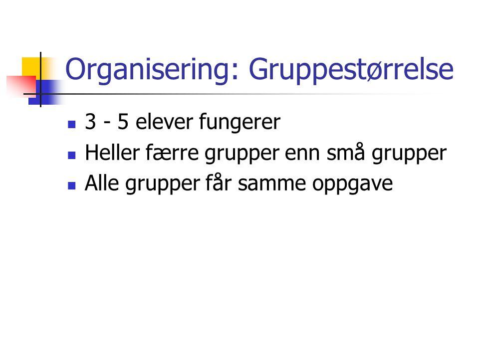 Organisering: Gruppestørrelse 3 - 5 elever fungerer Heller færre grupper enn små grupper Alle grupper får samme oppgave