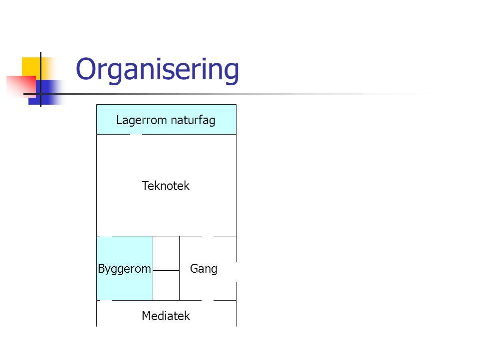 Organisering Lagerrom naturfag Teknotek Byggerom Mediatek Gang