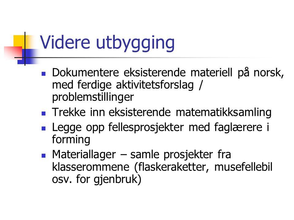 Videre utbygging Dokumentere eksisterende materiell på norsk, med ferdige aktivitetsforslag / problemstillinger Trekke inn eksisterende matematikksaml