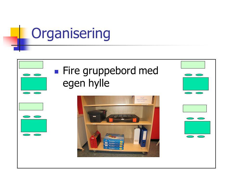 Organisering Fire gruppebord med egen hylle