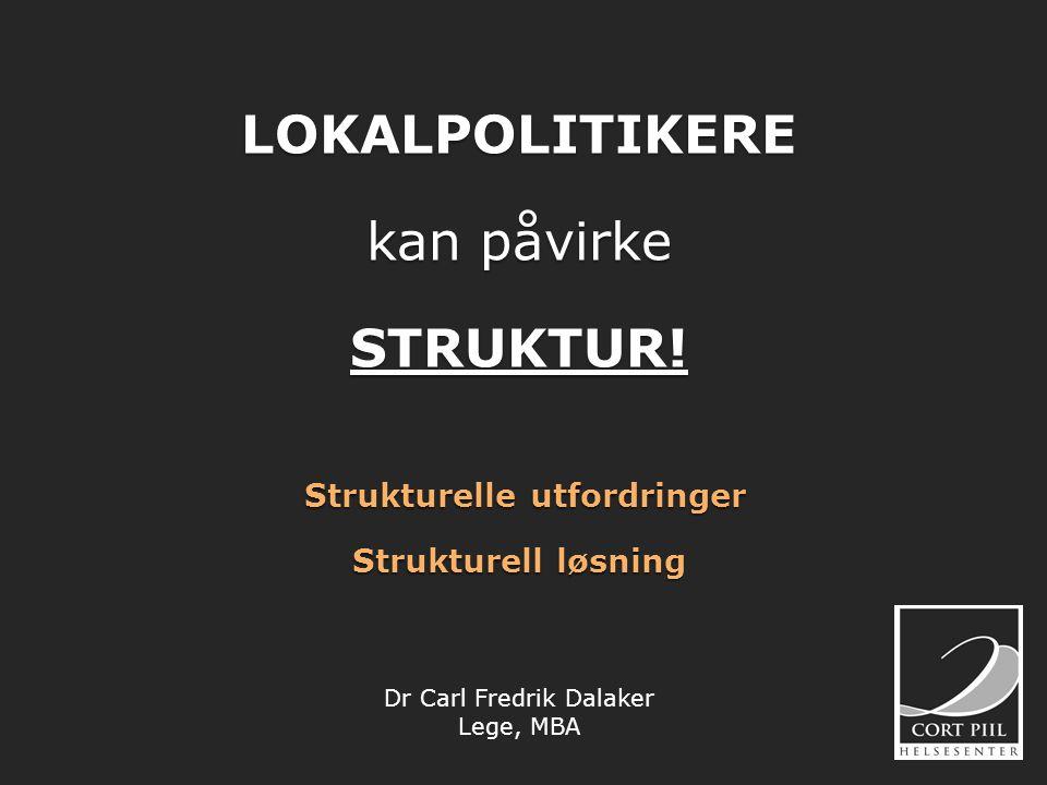 LOKALPOLITIKERE kan påvirke STRUKTUR! Strukturelle utfordringer Strukturell løsning Dr Carl Fredrik Dalaker Lege, MBA