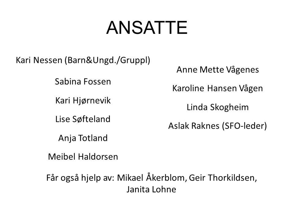 ANSATTE Kari Nessen (Barn&Ungd./Gruppl) Sabina Fossen Kari Hjørnevik Lise Søfteland Anja Totland Meibel Haldorsen Anne Mette Vågenes Karoline Hansen V