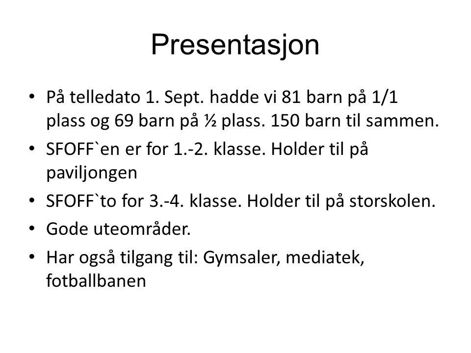 Presentasjon På telledato 1. Sept. hadde vi 81 barn på 1/1 plass og 69 barn på ½ plass. 150 barn til sammen. SFOFF`en er for 1.-2. klasse. Holder til