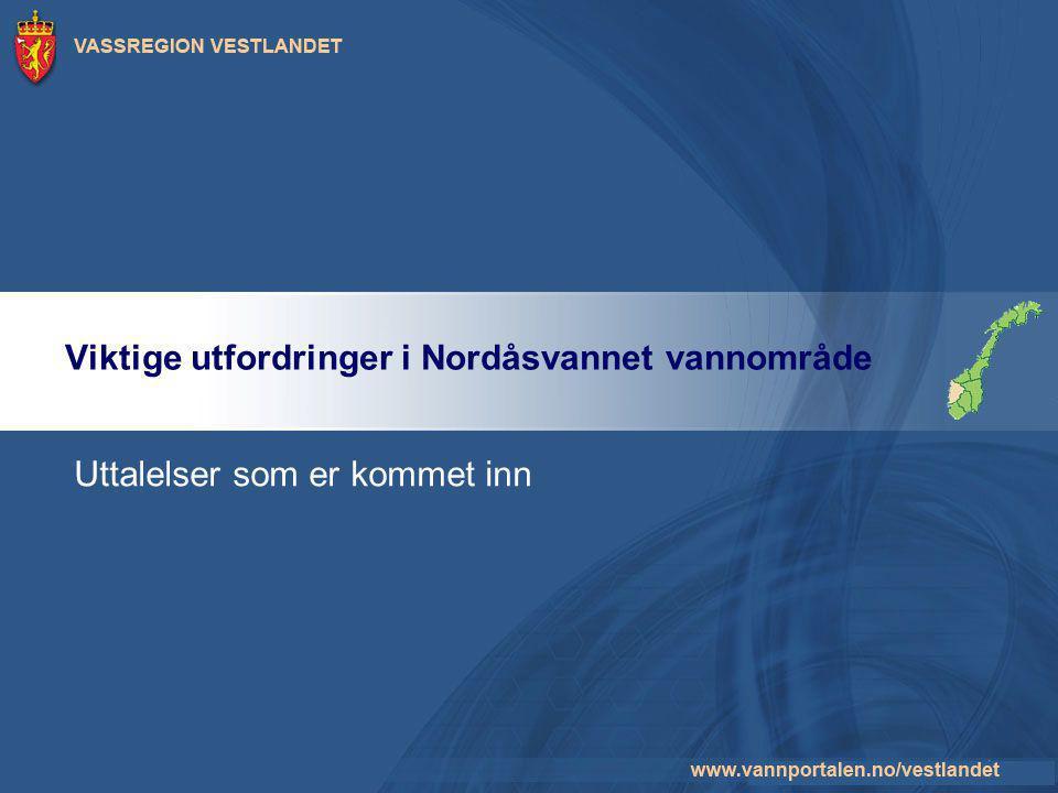 Viktige utfordringer i Nordåsvannet vannområde Uttalelser som er kommet inn