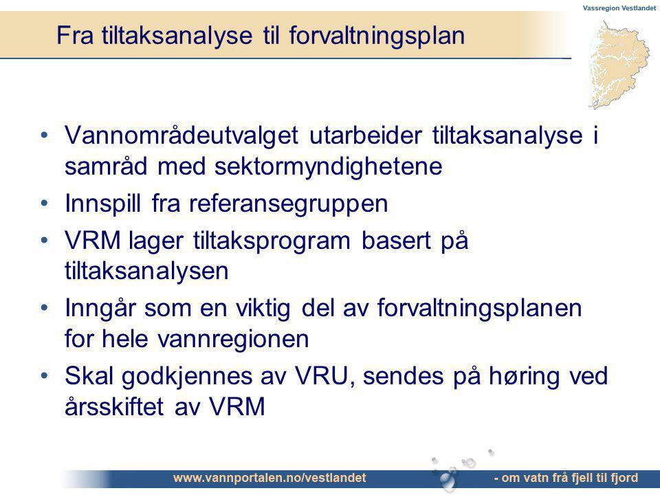 Fra tiltaksanalyse til forvaltningsplan Vannområdeutvalget utarbeider tiltaksanalyse i samråd med sektormyndighetene Innspill fra referansegruppen VRM