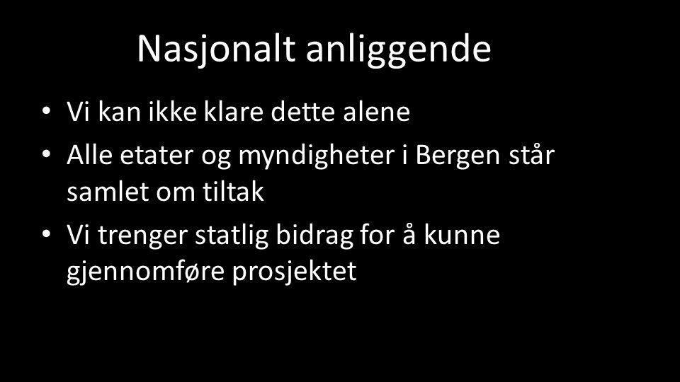 Nasjonalt anliggende Vi kan ikke klare dette alene Alle etater og myndigheter i Bergen står samlet om tiltak Vi trenger statlig bidrag for å kunne gjennomføre prosjektet