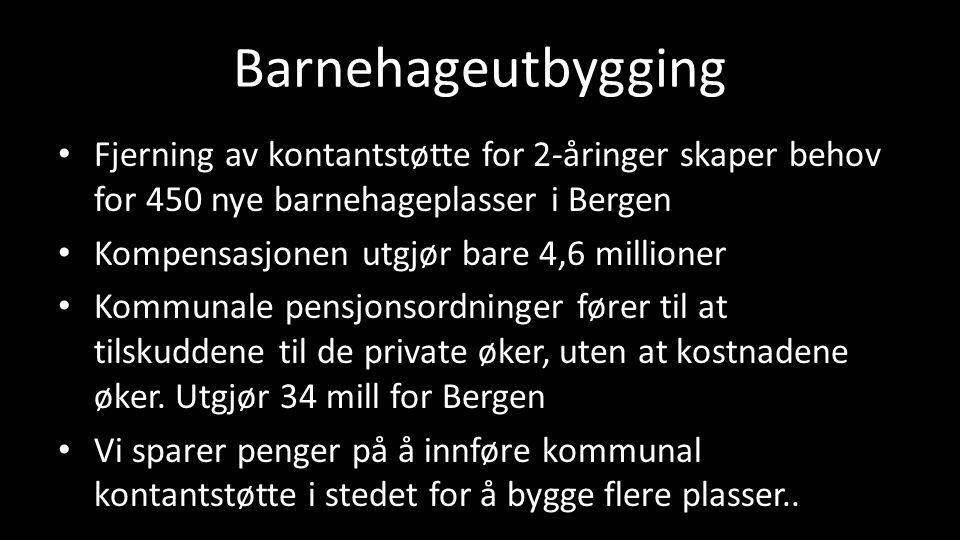 Barnehageutbygging Fjerning av kontantstøtte for 2-åringer skaper behov for 450 nye barnehageplasser i Bergen Kompensasjonen utgjør bare 4,6 millioner Kommunale pensjonsordninger fører til at tilskuddene til de private øker, uten at kostnadene øker.