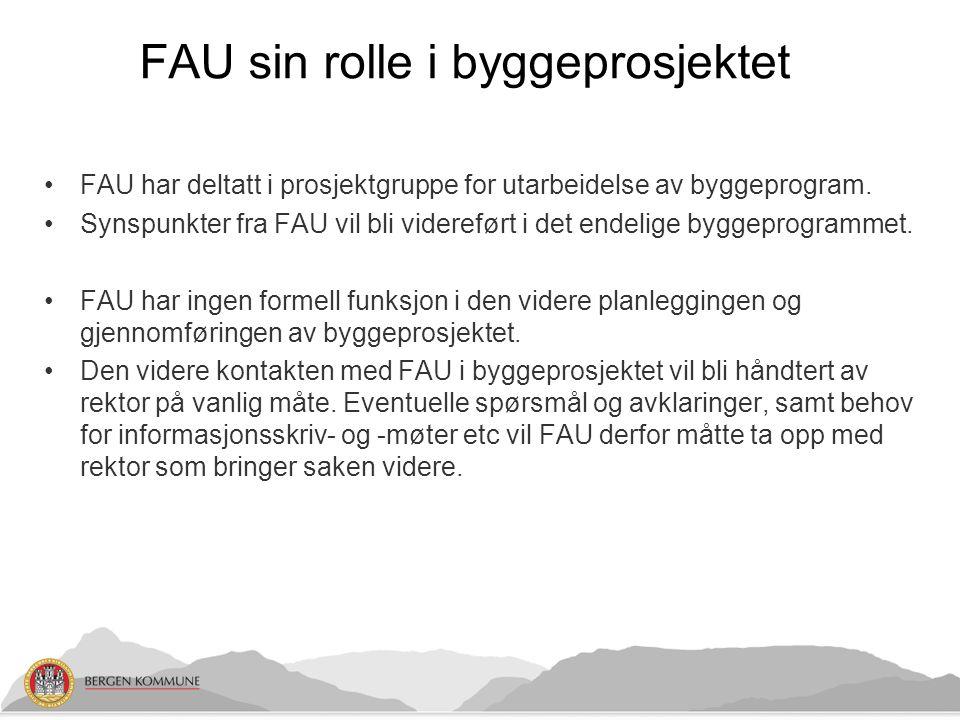 FAU har deltatt i prosjektgruppe for utarbeidelse av byggeprogram. Synspunkter fra FAU vil bli videreført i det endelige byggeprogrammet. FAU har inge