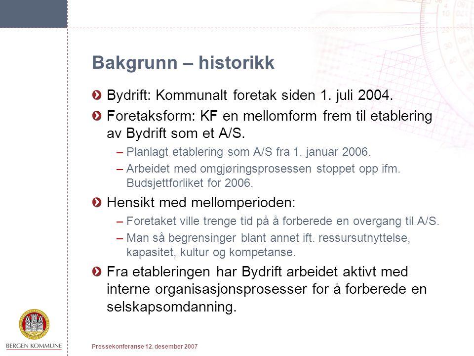 Bakgrunn – historikk Bydrift: Kommunalt foretak siden 1.