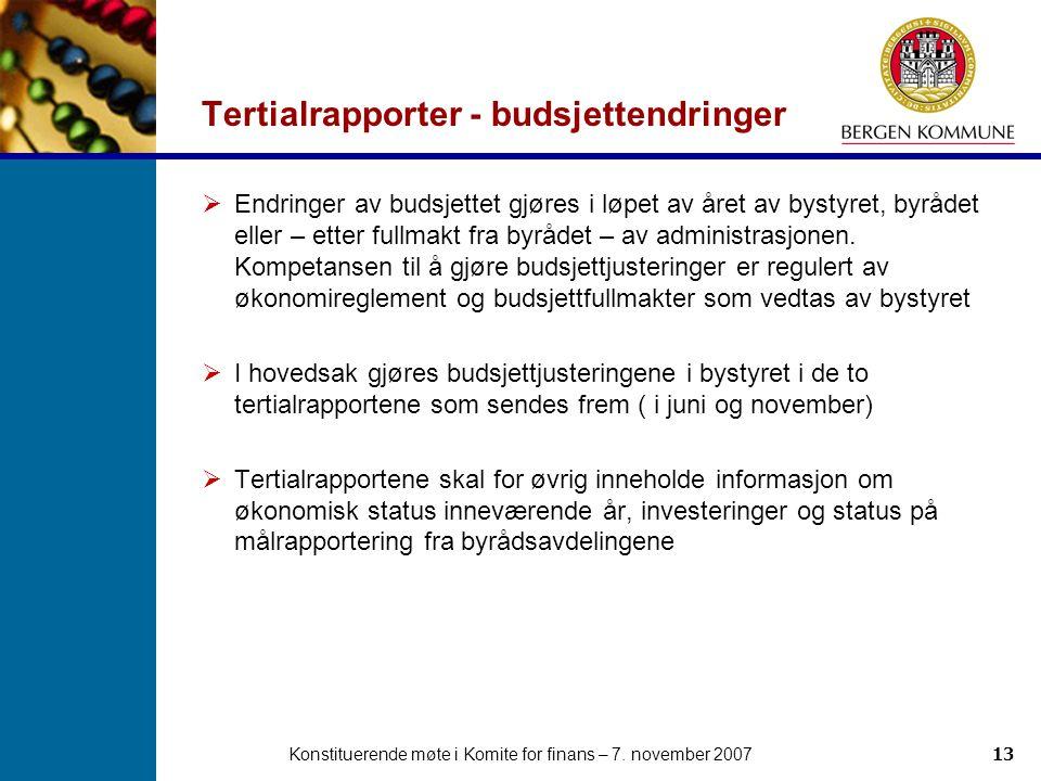 Konstituerende møte i Komite for finans – 7. november 200713 Tertialrapporter - budsjettendringer  Endringer av budsjettet gjøres i løpet av året av