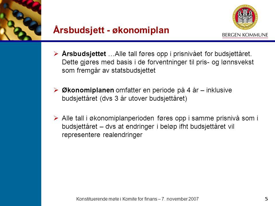 Konstituerende møte i Komite for finans – 7. november 20075 Årsbudsjett - økonomiplan  Årsbudsjettet …Alle tall føres opp i prisnivået for budsjettår