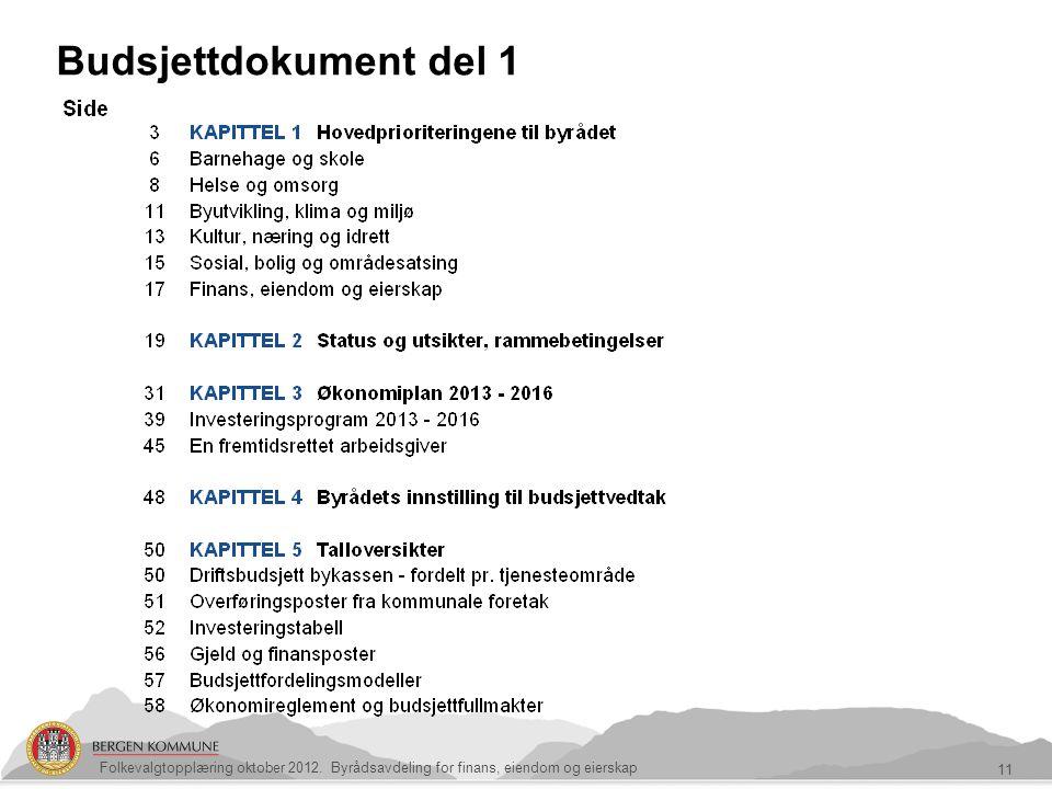 Budsjettdokument del 1 11 Folkevalgtopplæring oktober 2012. Byrådsavdeling for finans, eiendom og eierskap