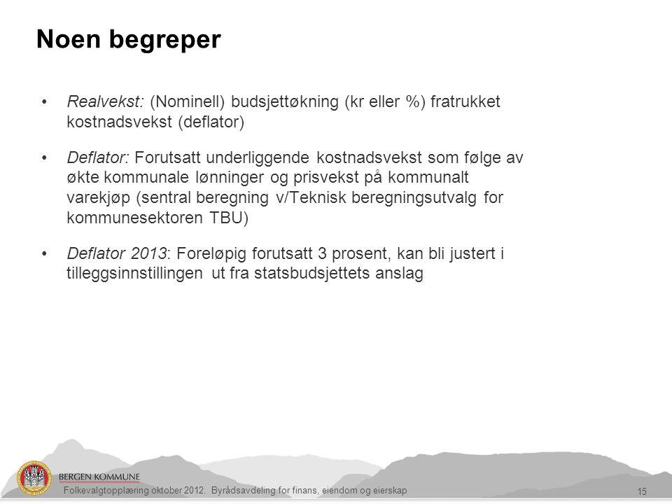 Noen begreper 15 Folkevalgtopplæring oktober 2012. Byrådsavdeling for finans, eiendom og eierskap Realvekst: (Nominell) budsjettøkning (kr eller %) fr