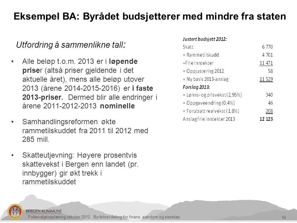 Eksempel BA: Byrådet budsjetterer med mindre fra staten 16 Folkevalgtopplæring oktober 2012. Byrådsavdeling for finans, eiendom og eierskap Alle beløp
