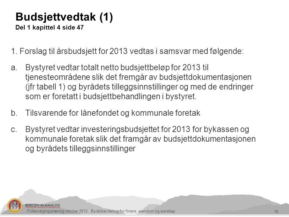 Budsjettvedtak (1) Del 1 kapittel 4 side 47 18 Folkevalgtopplæring oktober 2012. Byrådsavdeling for finans, eiendom og eierskap 1. Forslag til årsbuds