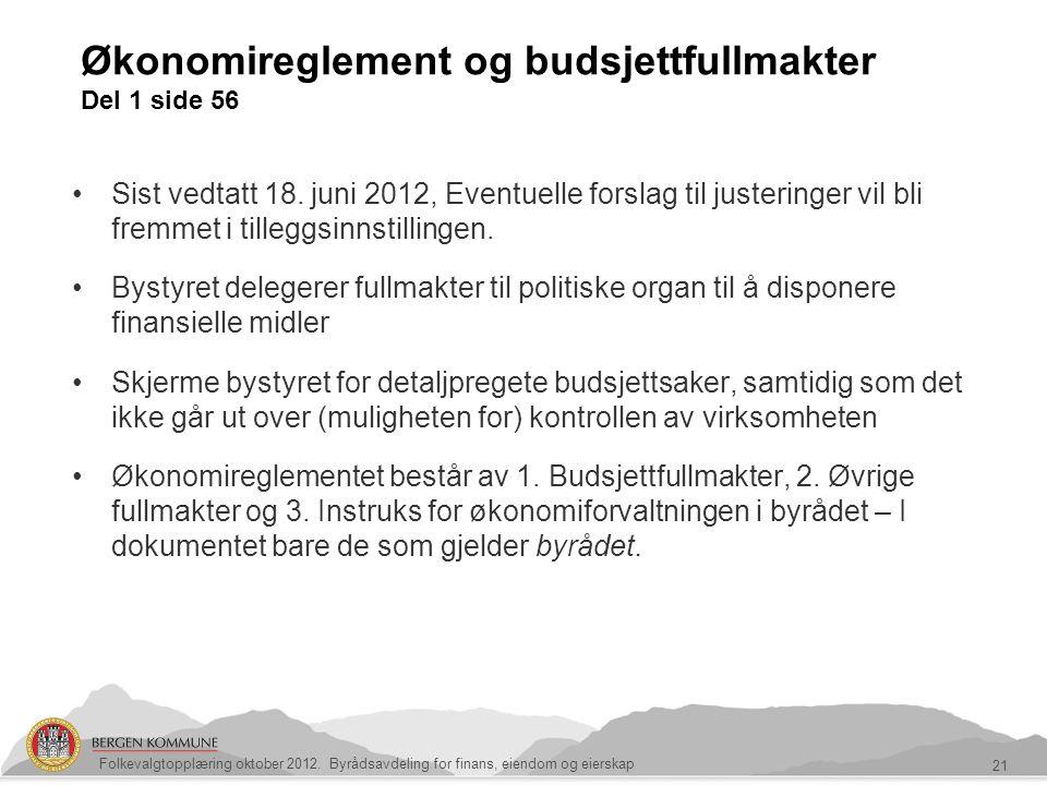 Økonomireglement og budsjettfullmakter Del 1 side 56 21 Sist vedtatt 18. juni 2012, Eventuelle forslag til justeringer vil bli fremmet i tilleggsinnst