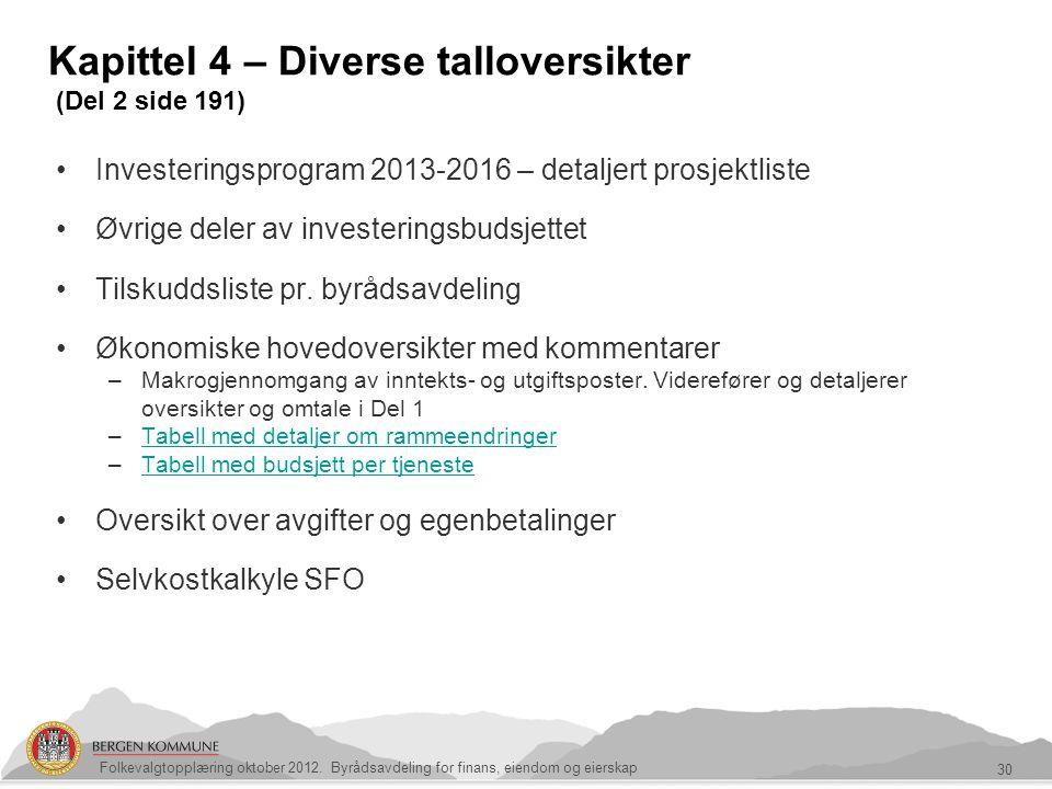 Kapittel 4 – Diverse talloversikter (Del 2 side 191) 30 Folkevalgtopplæring oktober 2012. Byrådsavdeling for finans, eiendom og eierskap Investeringsp