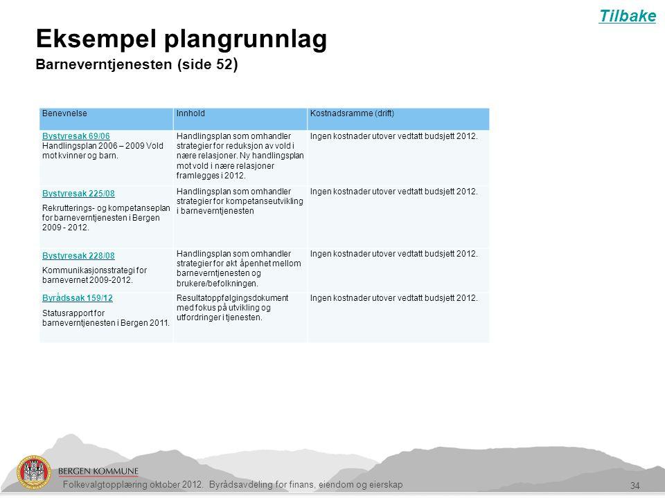 Eksempel plangrunnlag Barneverntjenesten (side 52 ) 34 Folkevalgtopplæring oktober 2012. Byrådsavdeling for finans, eiendom og eierskap Tilbake Benevn