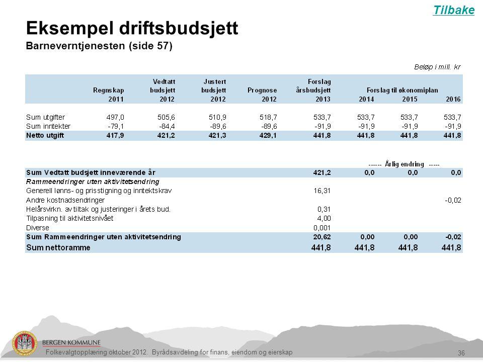 Eksempel driftsbudsjett Barneverntjenesten (side 57) 36 Folkevalgtopplæring oktober 2012. Byrådsavdeling for finans, eiendom og eierskap Tilbake