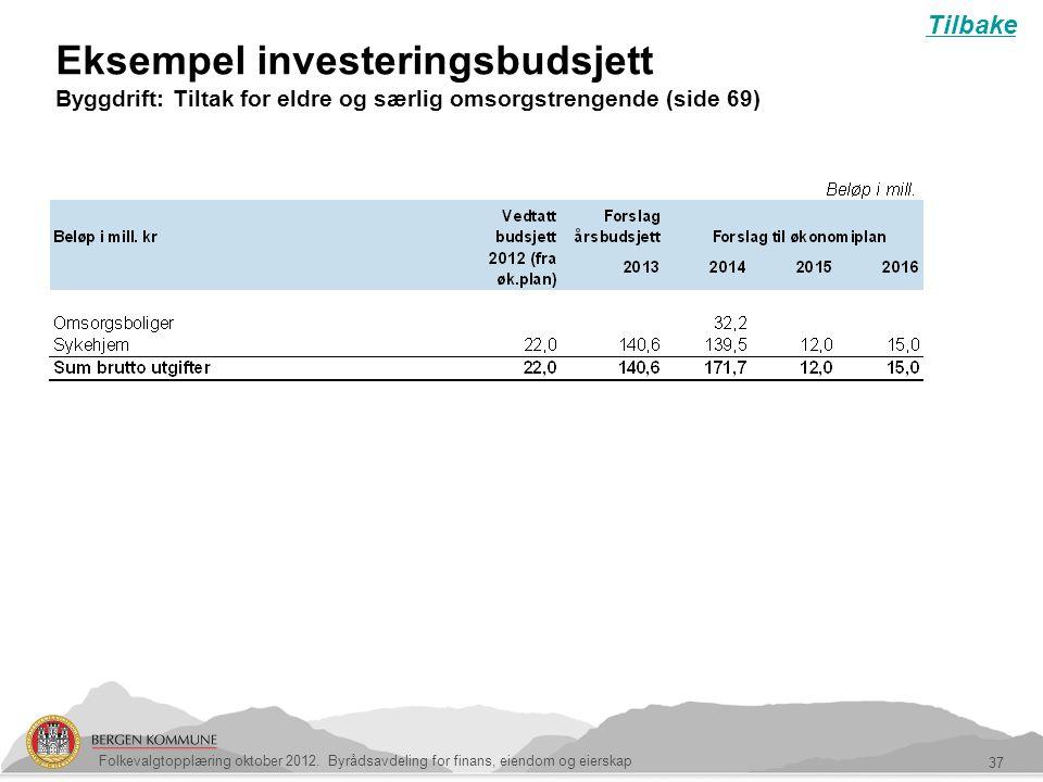 Eksempel investeringsbudsjett Byggdrift: Tiltak for eldre og særlig omsorgstrengende (side 69) 37 Folkevalgtopplæring oktober 2012. Byrådsavdeling for