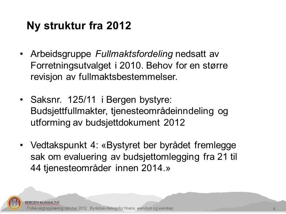 4 Ny struktur fra 2012 Arbeidsgruppe Fullmaktsfordeling nedsatt av Forretningsutvalget i 2010. Behov for en større revisjon av fullmaktsbestemmelser.