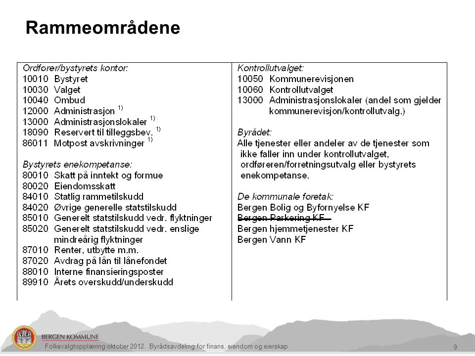 9 Rammeområdene Folkevalgtopplæring oktober 2012. Byrådsavdeling for finans, eiendom og eierskap