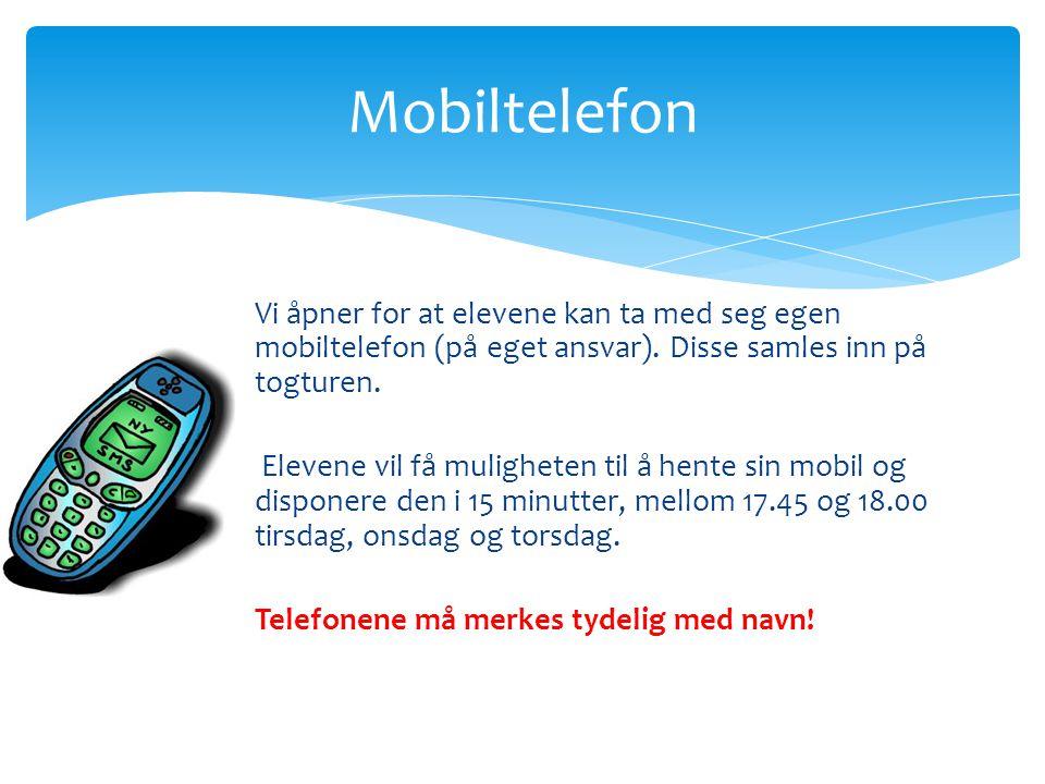 Mobiltelefon Vi åpner for at elevene kan ta med seg egen mobiltelefon (på eget ansvar).